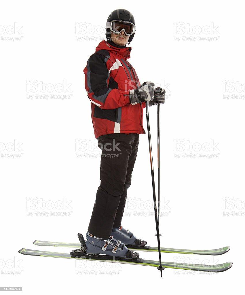Skier man stock photo