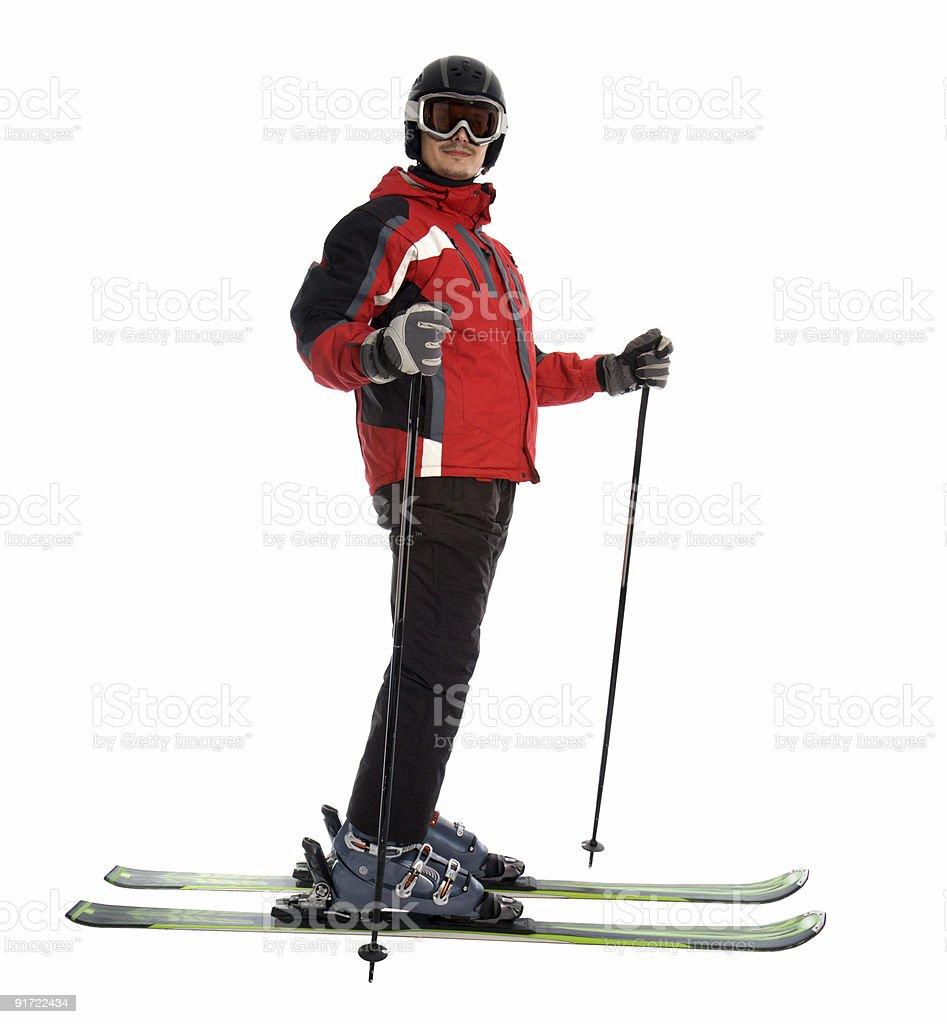 Skier man with ski equipment stock photo