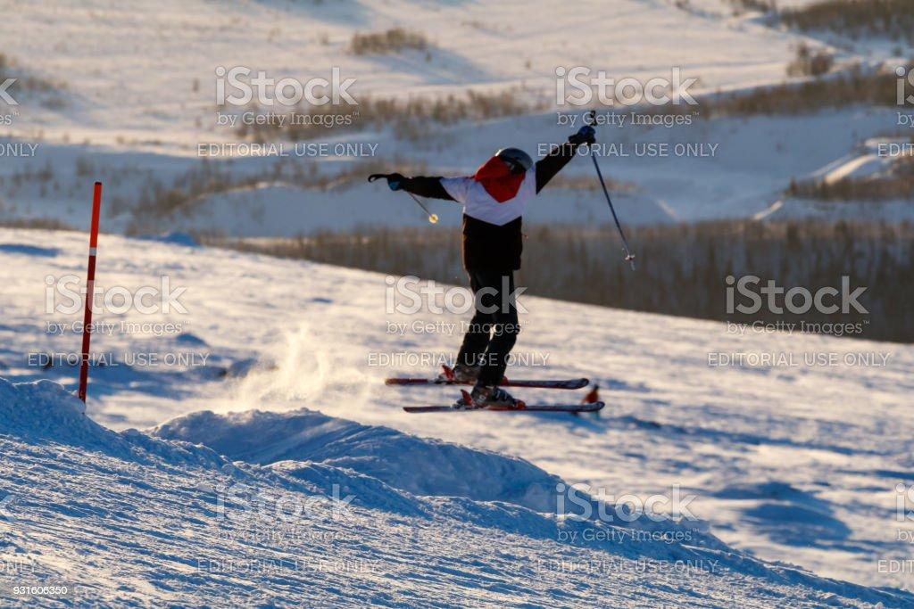 skier on a springboard stock photo