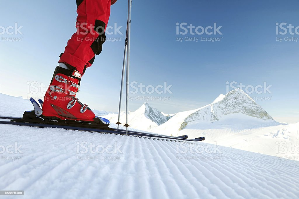 skier on an untouched ski track stock photo