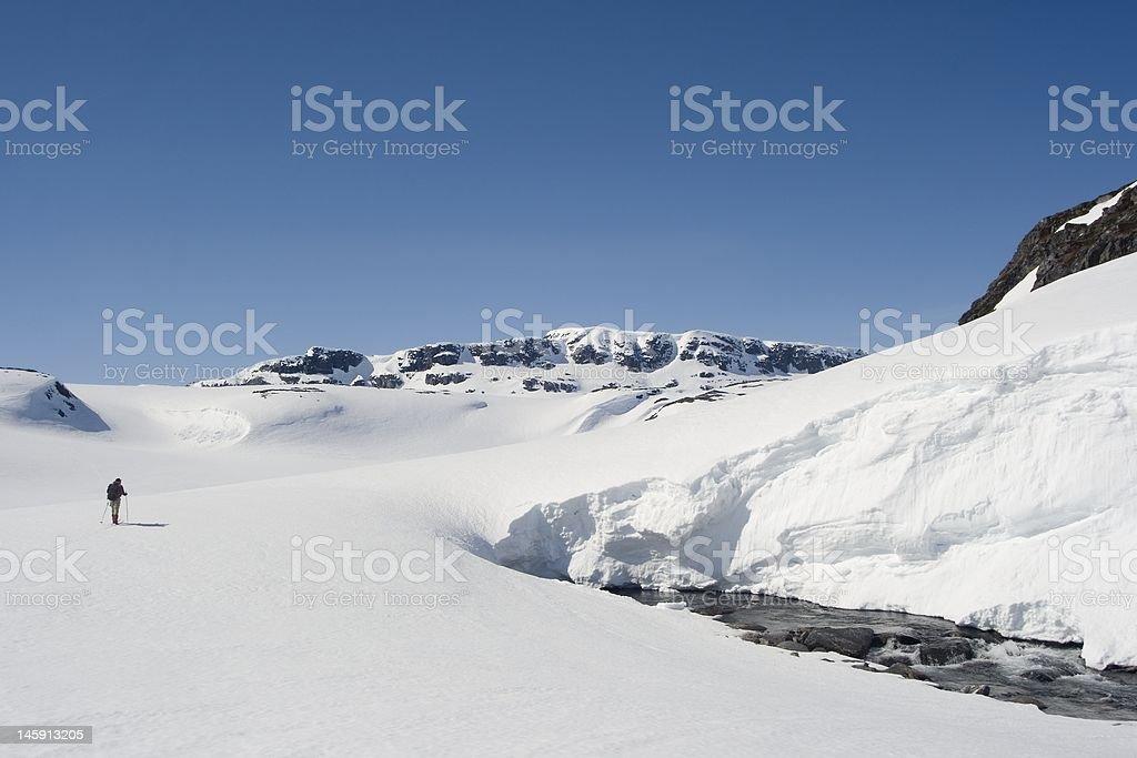 Skier on Hardangervidda royalty-free stock photo