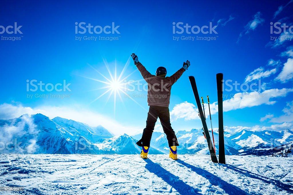 Skier on slope of ski resort royalty-free stock photo