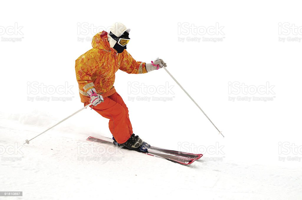 skier on the mountain side stock photo