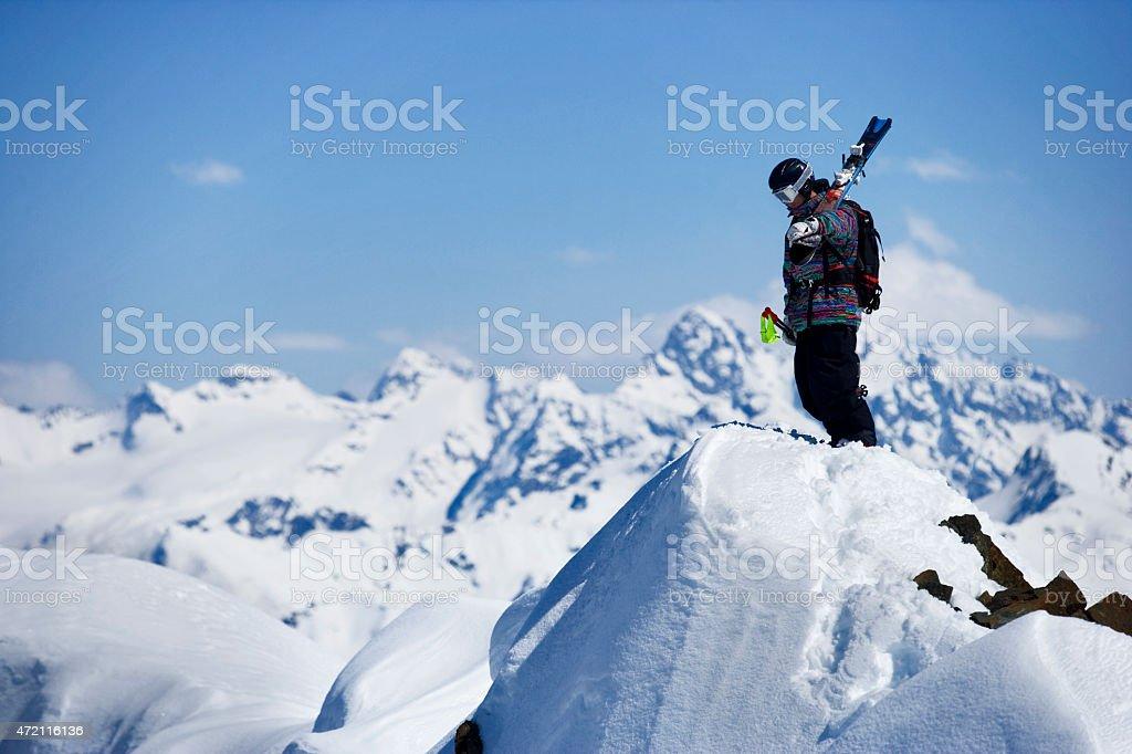 Skier on the Mountain Top stock photo