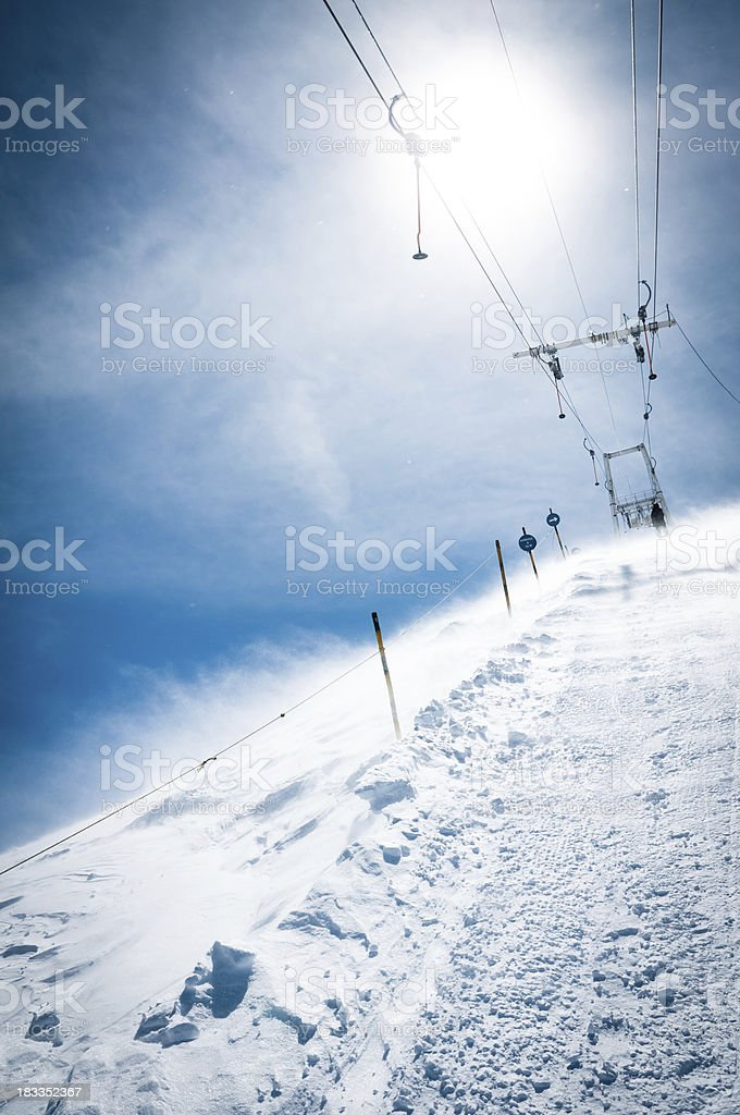 Skier on the ski-lift royalty-free stock photo
