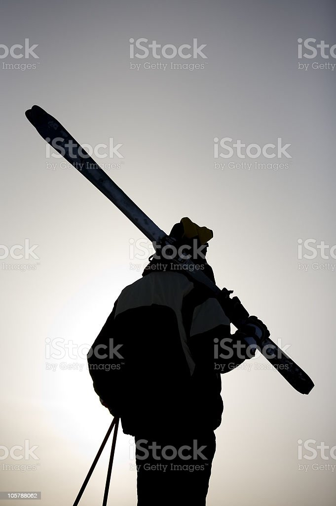 Skier silhouette royalty-free stock photo
