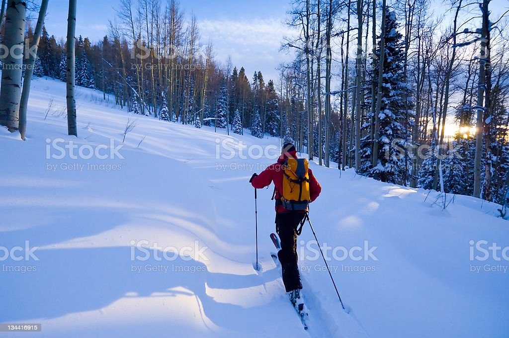 Skier Skinning and Ski Touring in the Backcountry stock photo