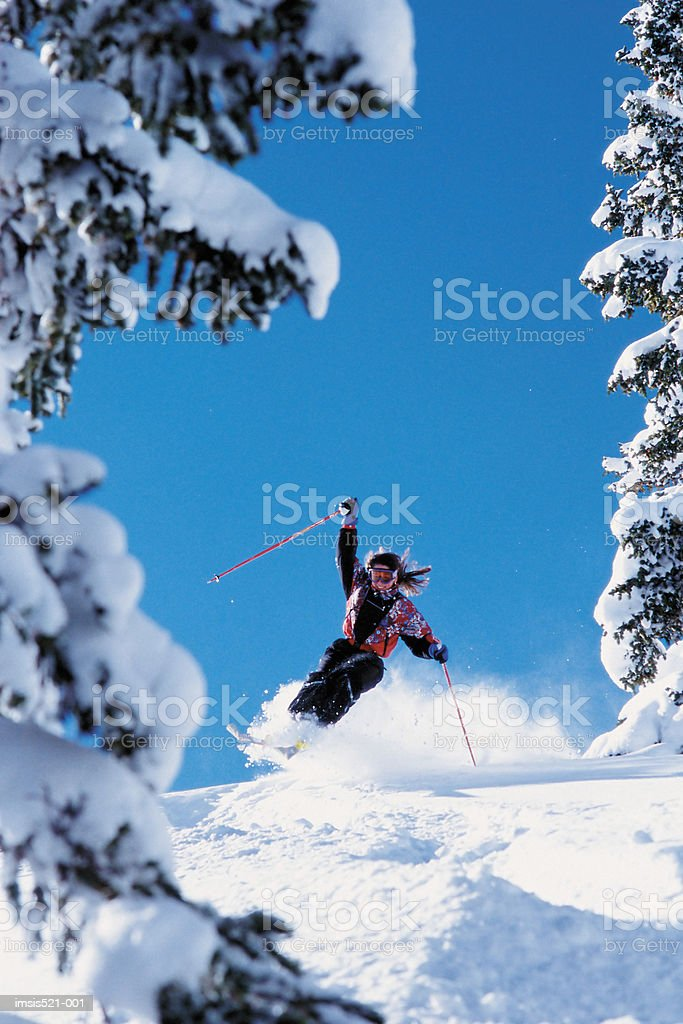 Skier speeding downhill royalty-free stock photo
