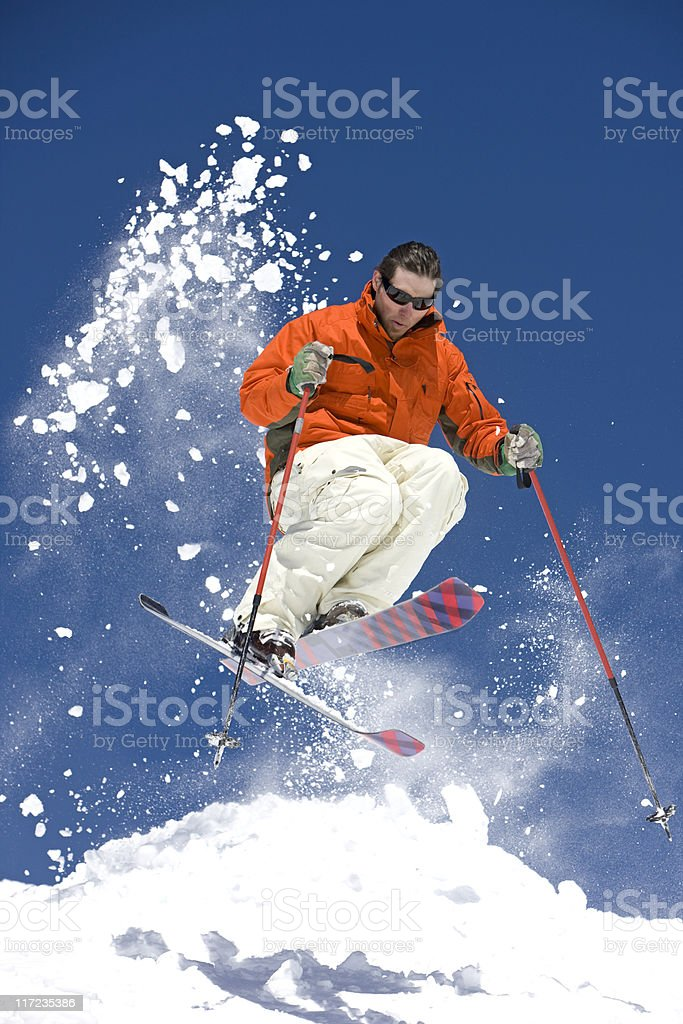 Skier Suspended In Mid-Air royalty-free stock photo