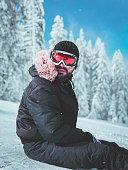 Skier taking a rest