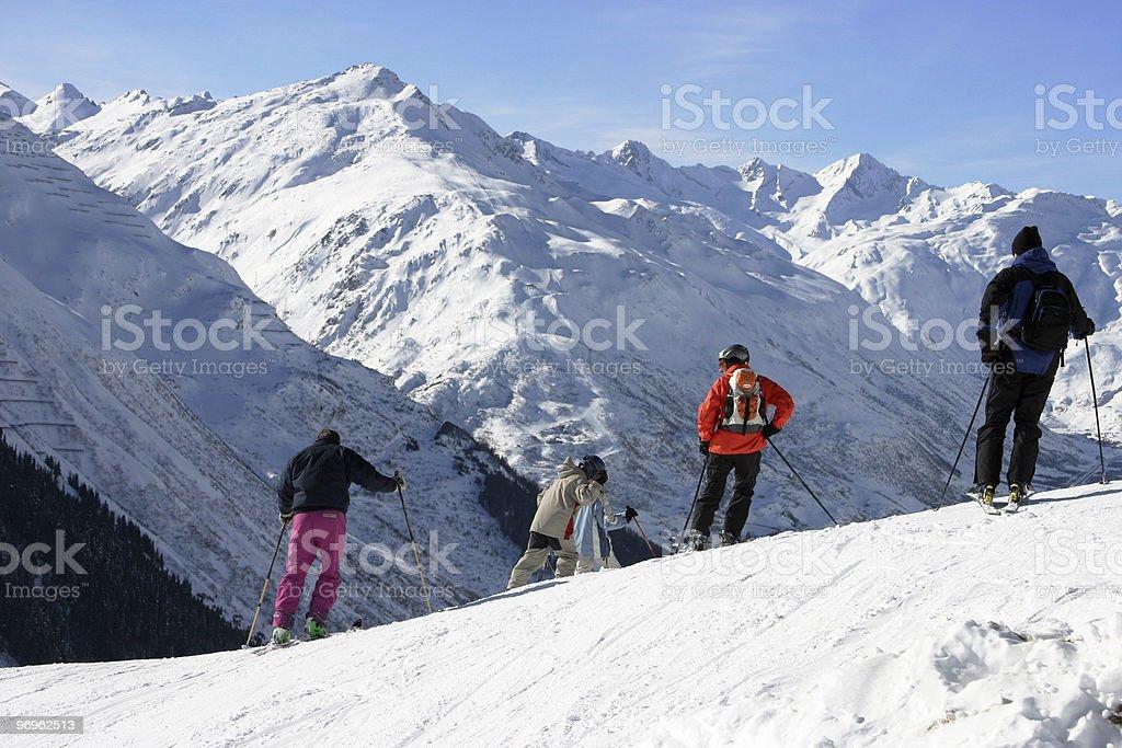 skier with panorama stock photo
