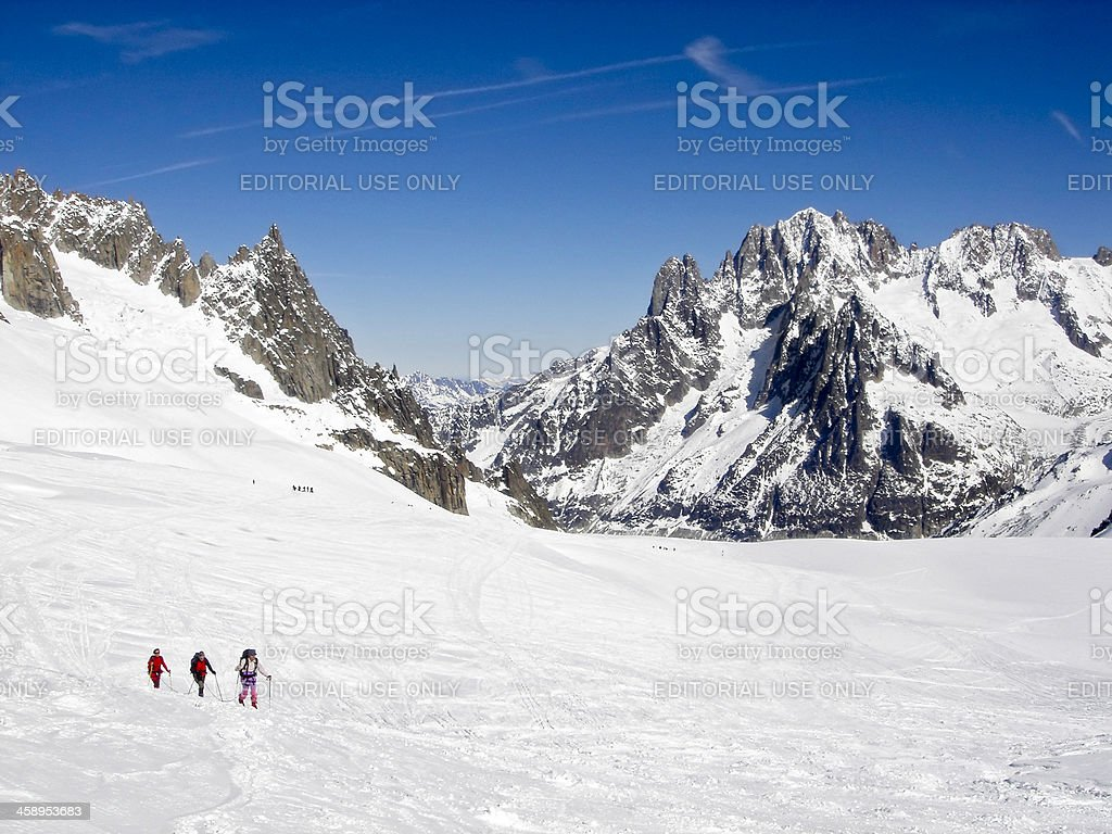 Skiers and Mountaineers in the Valley Blanche, Chamonix. stock photo