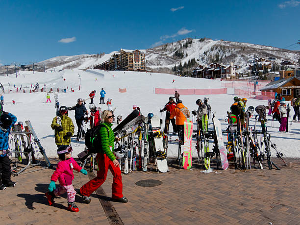 skiers at the base of Steamboat, Colorado resort