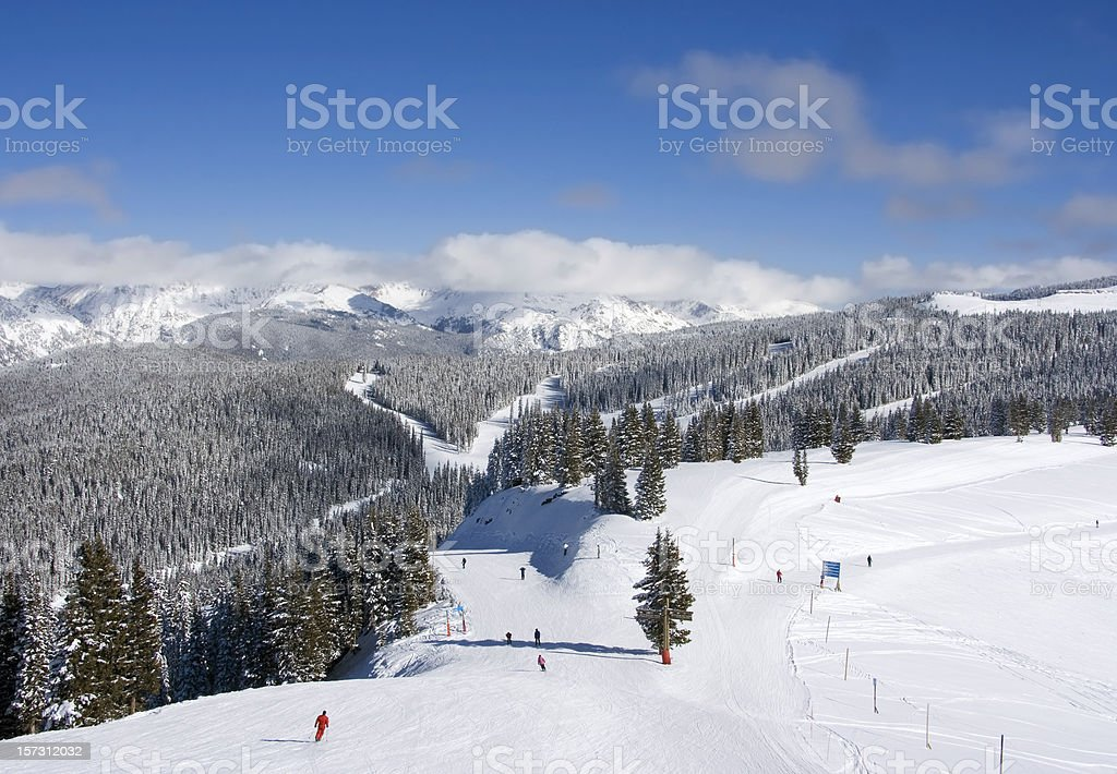 Skiers at Vail stock photo