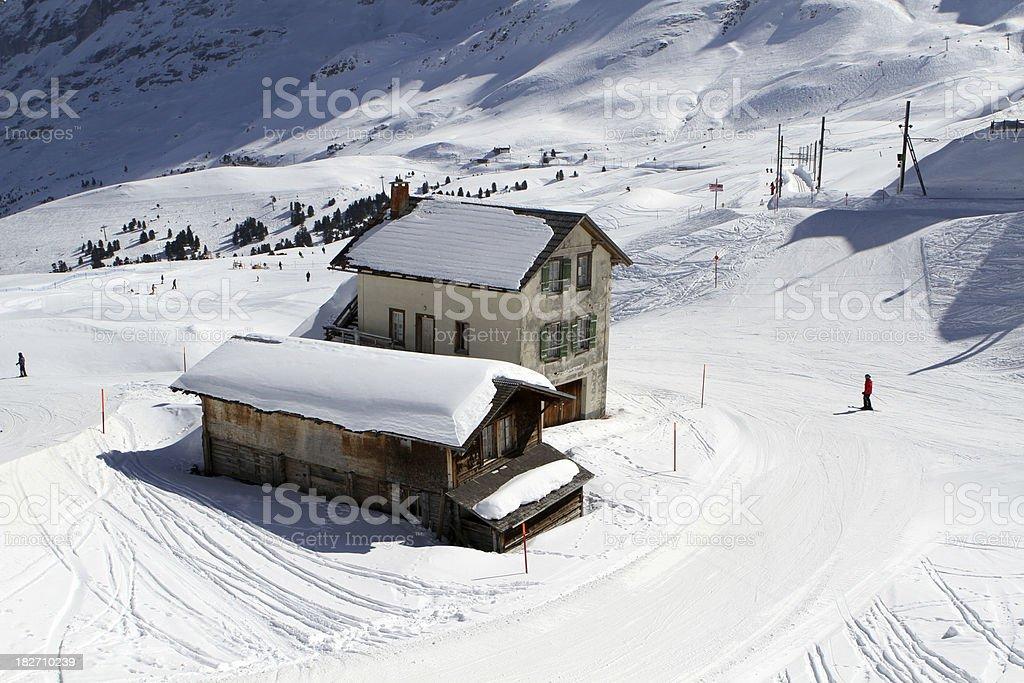 Skiers descending from the Kleine Scheidegg plateau, Berne Canton royalty-free stock photo