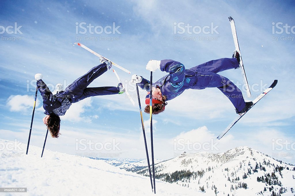Skiers doing summersault royalty-free stock photo
