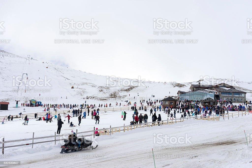 Skiers enjoy the snow at Kaimaktsalan ski center, in Greece. stock photo