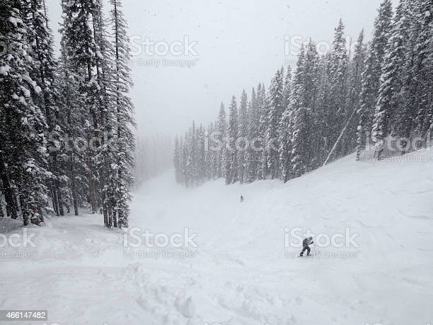 Photo of Skiers far below on a ski run in a blizzard