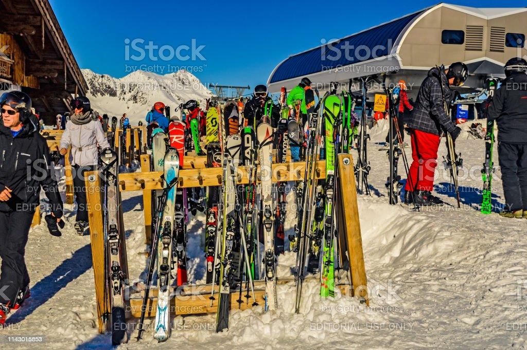 HOCHGURGL, TIROL, AUSTRIA, January 12 2018: Skiers getting around...