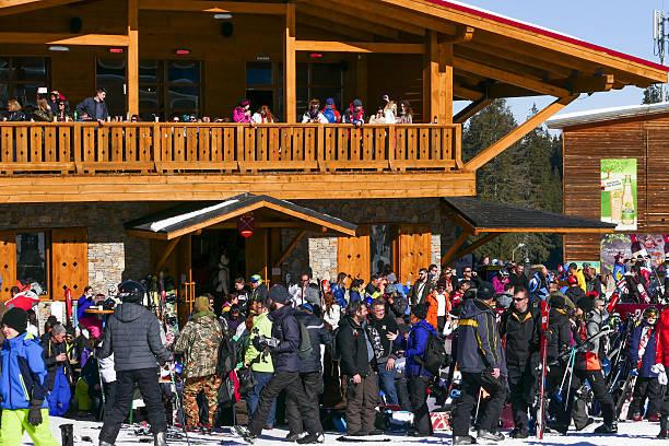 Skiers in Bansko ski resort, Bulgaria stock photo