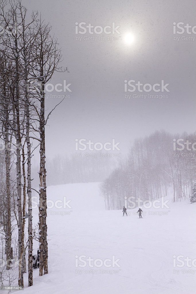 Skiers in heavy snowfall on an easy run. royalty-free stock photo