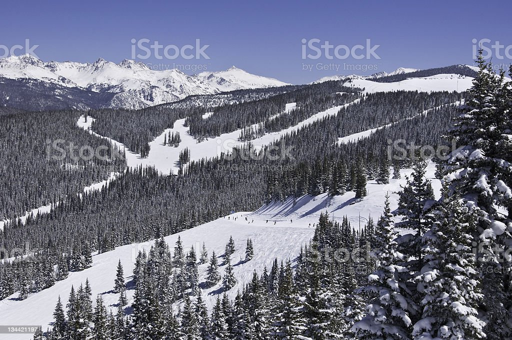 Skiers on Catwalk in Vail Colorado royalty-free stock photo