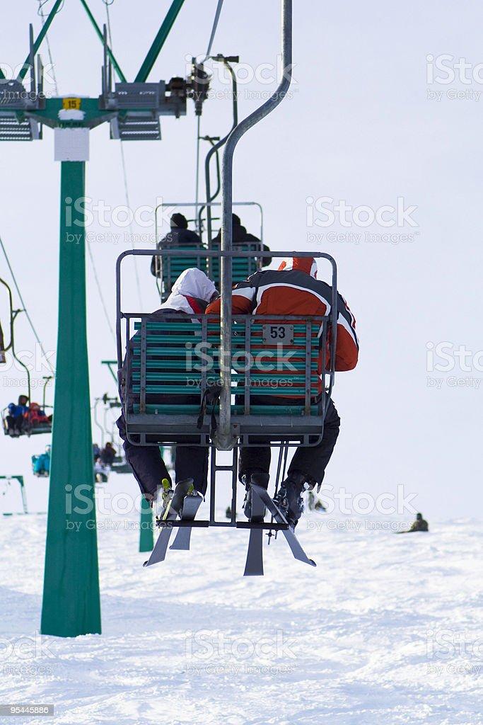 Skiers on lift royalty-free stock photo