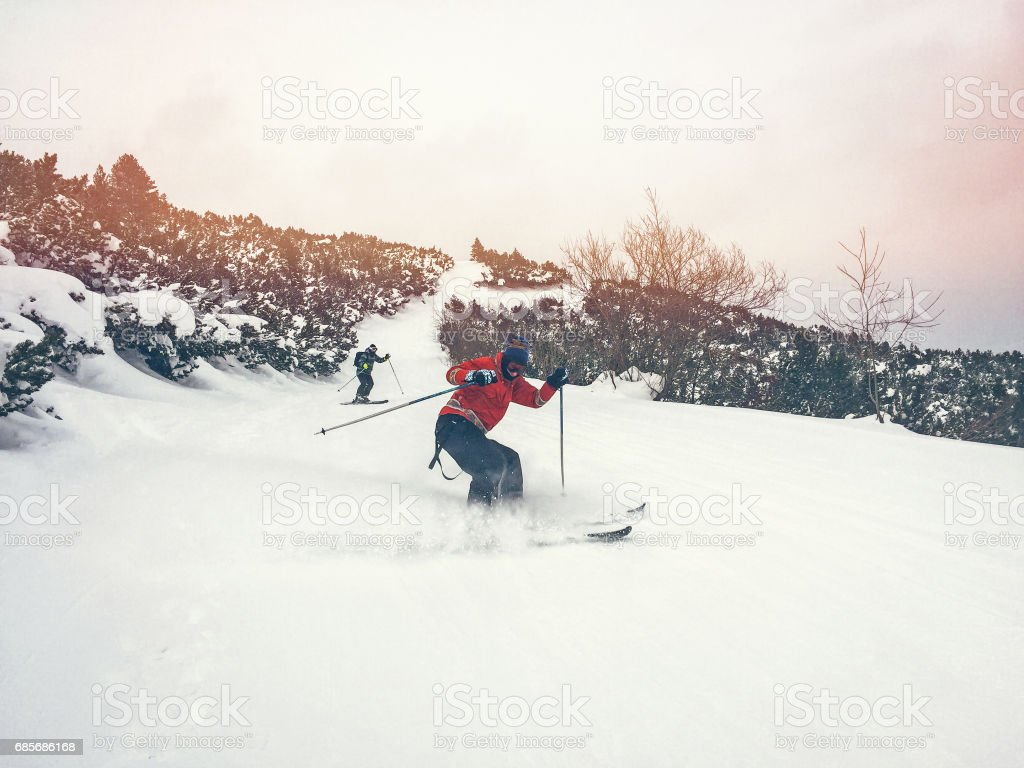 Skiers on the mountain royalty-free stock photo