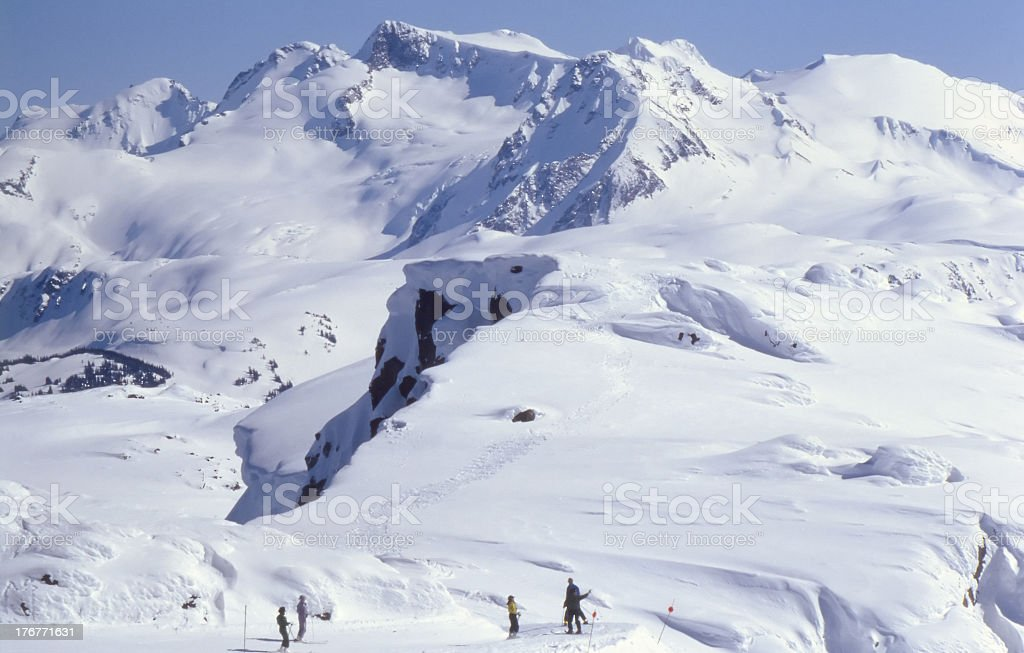 Skiers on top of Whistler royalty-free stock photo