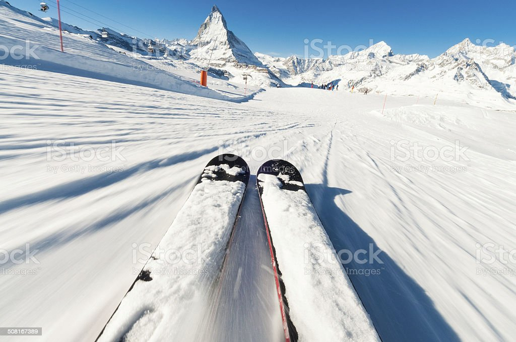 Skier's Point of View stock photo