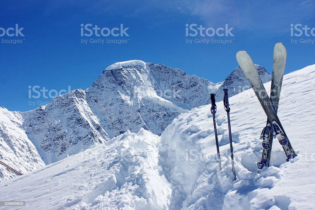 Skies against the background of mountains stock photo