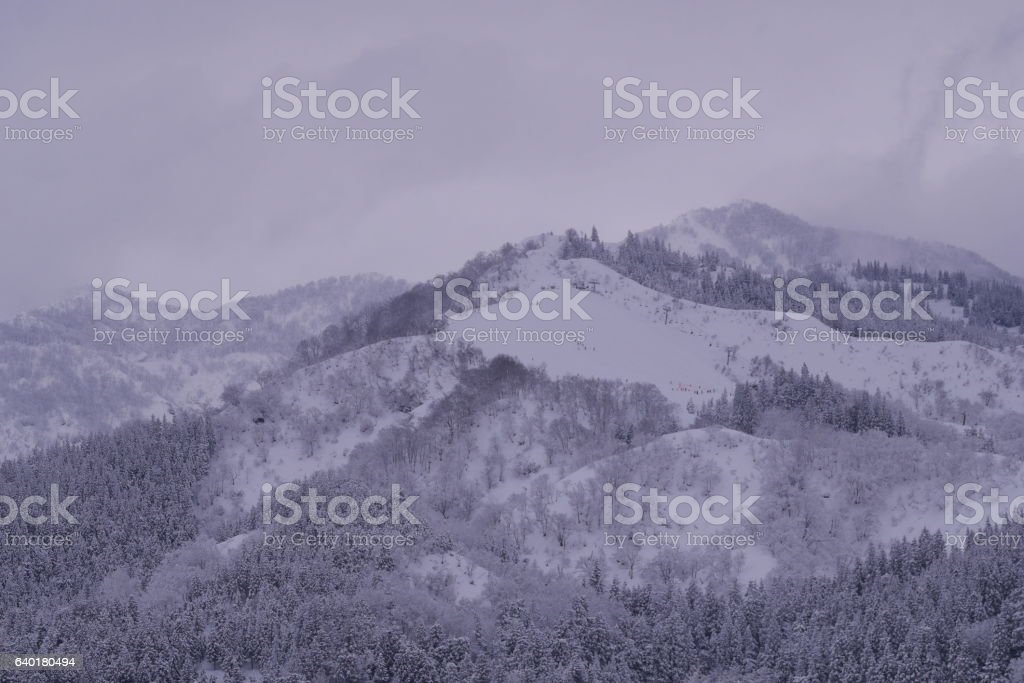 Skii field  in snow covered mountains stock photo