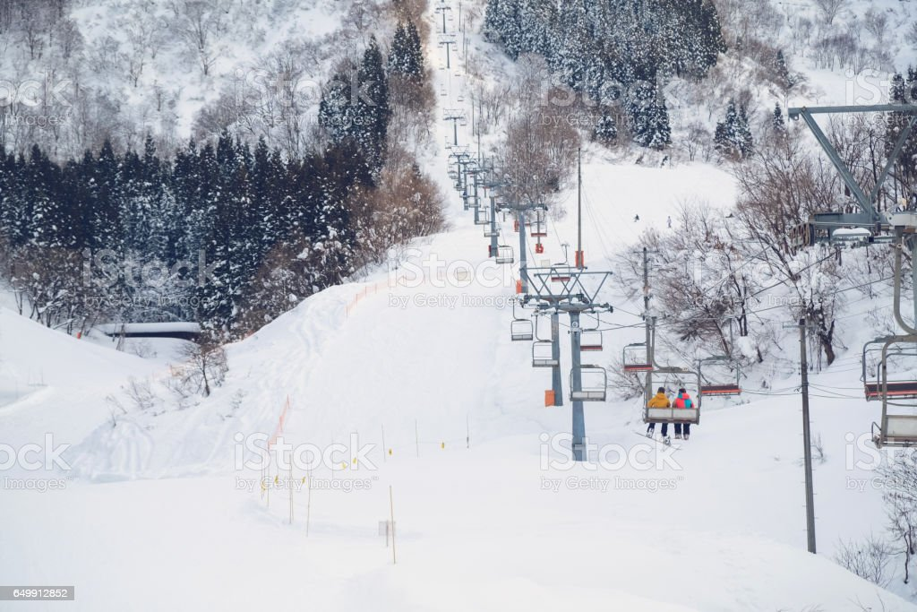 skii lift at snow resort in Yuzawa stock photo