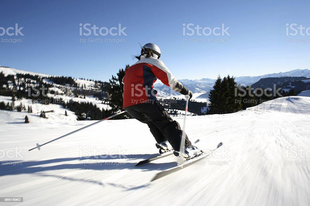 skiier in motion stock photo