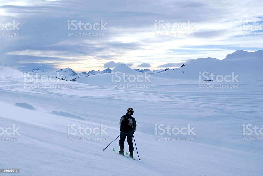 Skiier in the Alps royalty-free stock photo