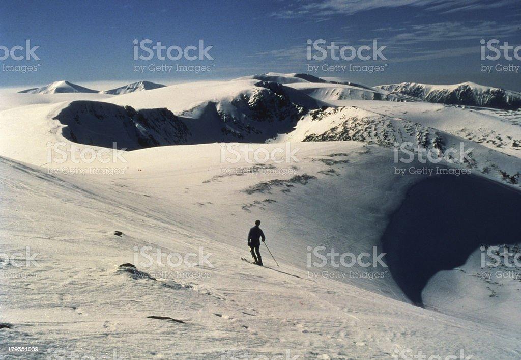 Ski-ing above Coire Cas, Cairngorm Mountains, Scotland stock photo