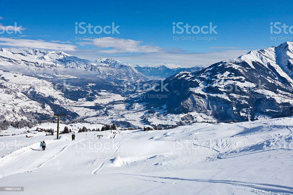 Skiing above the Rhine Valley stock photo
