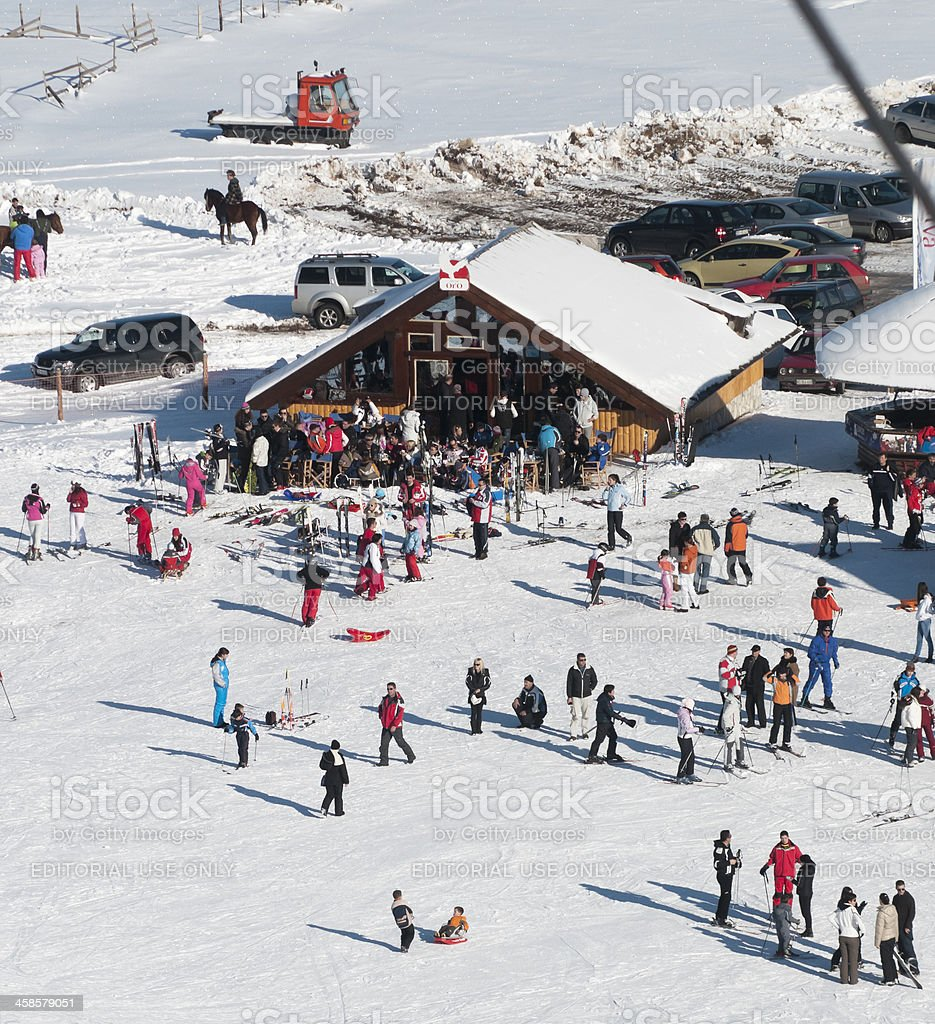 Skiing and enjoying the winter on mt Durmitor royalty-free stock photo