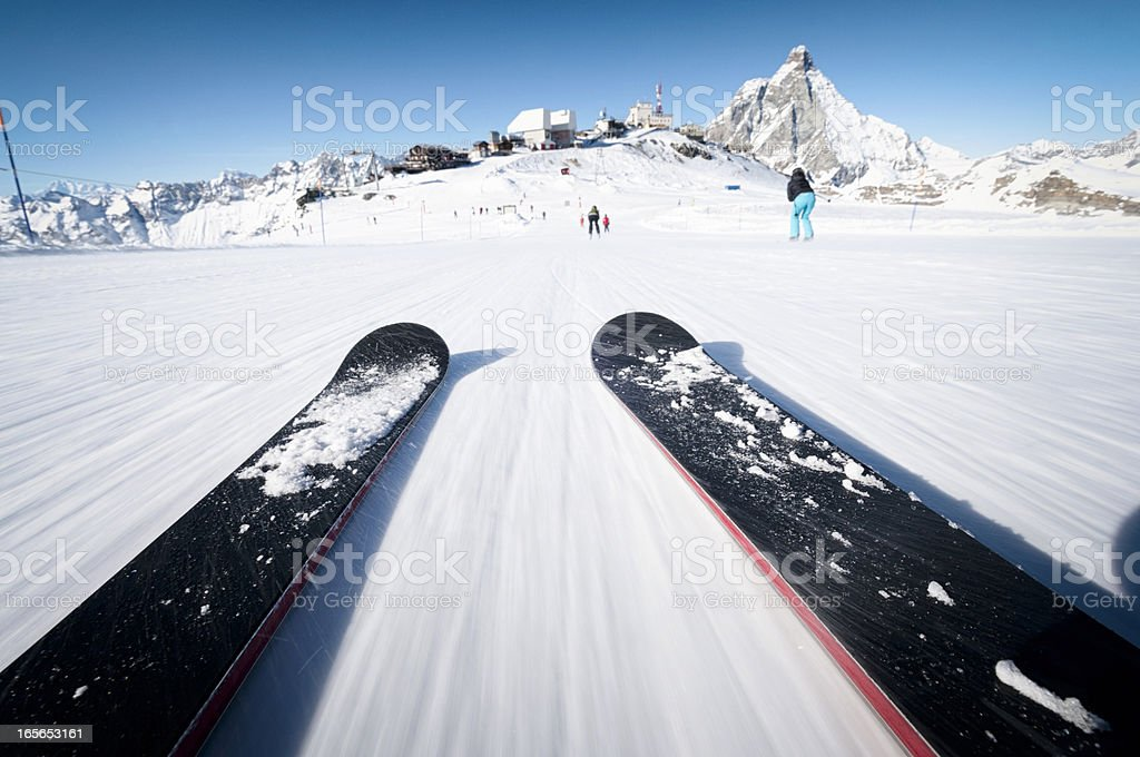 Skiing At Speed stock photo