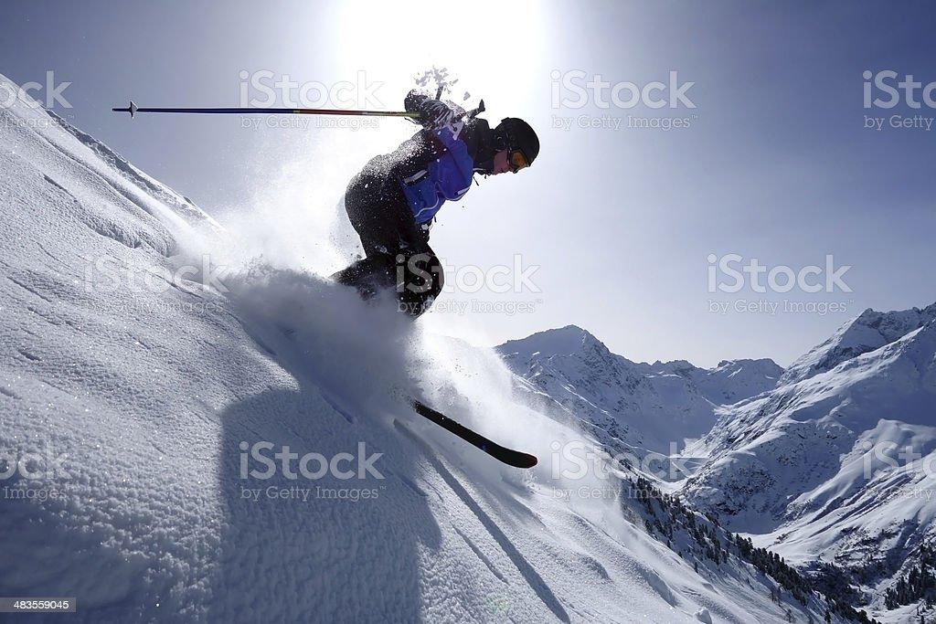 Skiing - Backcountry skiing - Extreme Skiing stock photo