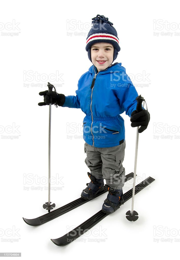Skiing boy stock photo