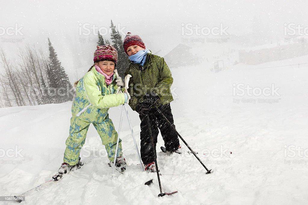 Skiing Children royalty-free stock photo