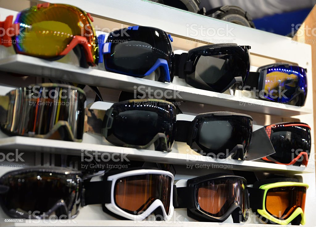 Skiing eyewear in shop – Foto