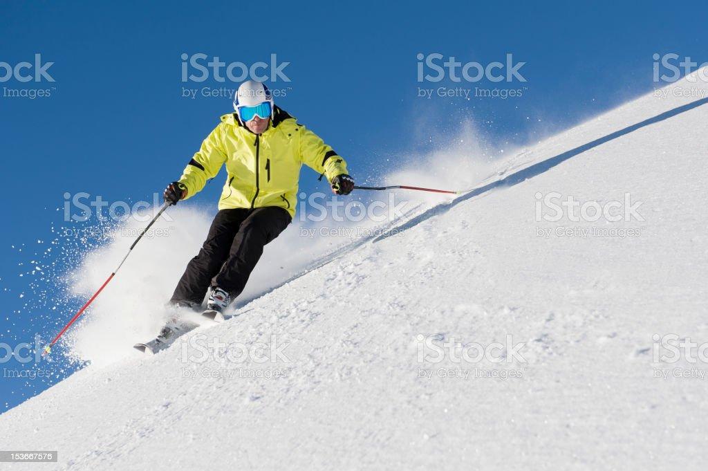skiing free feeling stock photo