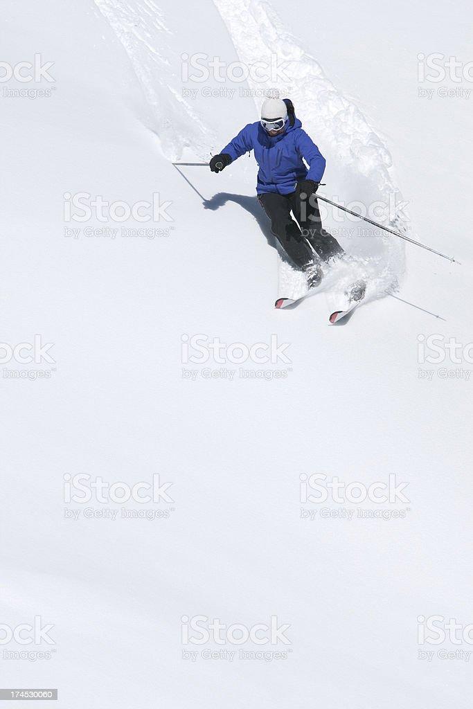 Skiing fresh powder snow royalty-free stock photo