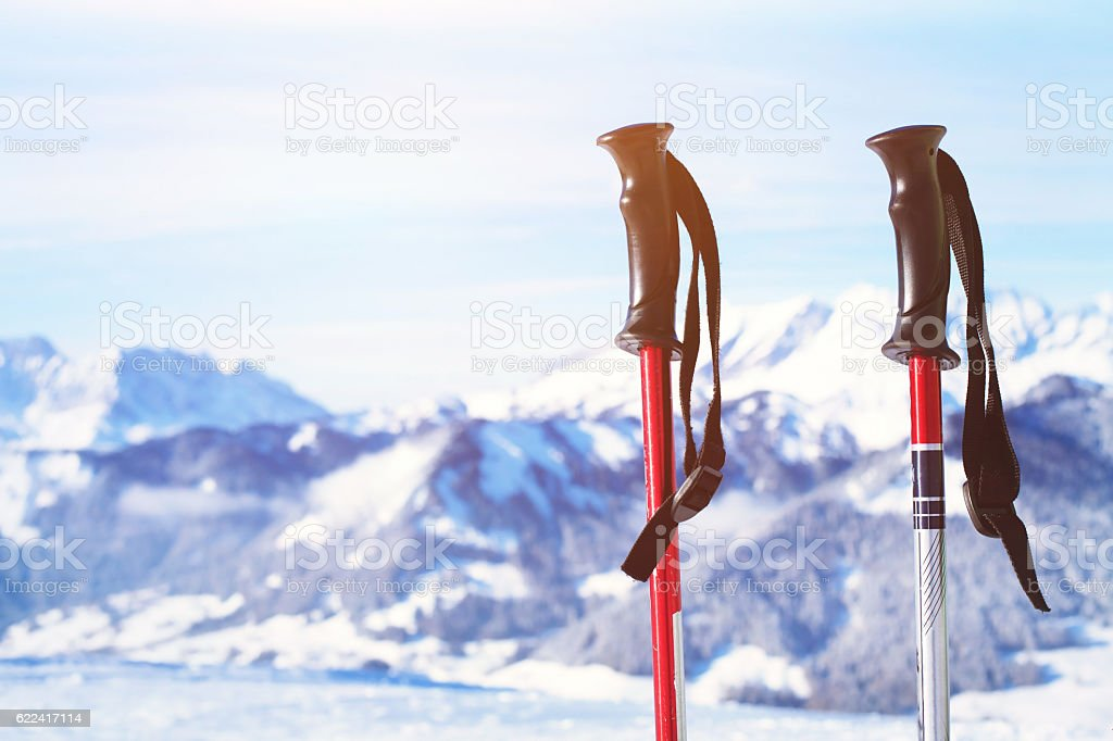 skiing in Alps stock photo