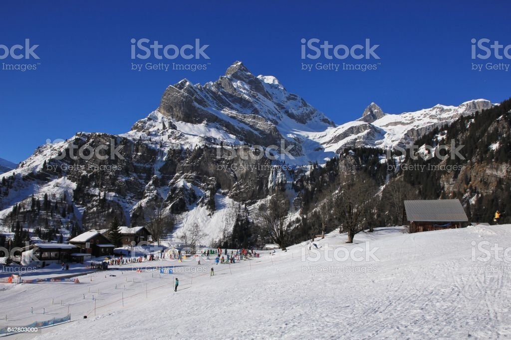 Skiing in Braunwald stock photo
