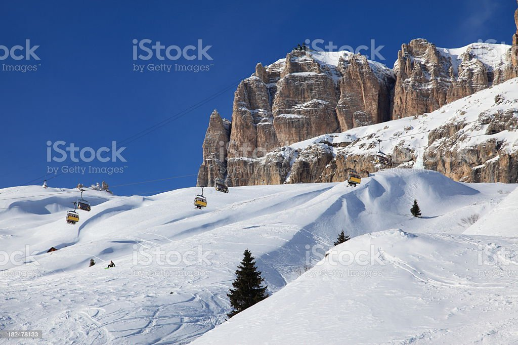 Skiing in Canazei Bellevue, The Dolomites stock photo