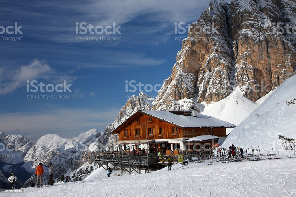 Skiing in Cortina d'Ampezzo stock photo