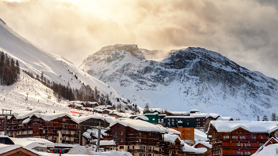 Skiing in french ski tourist resort of Val d'Isere in European Alps mountains in winter